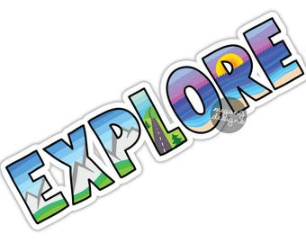Explore Sticker Travel Nature Decal Colorful Car Decal Laptop Decal Mountains Beach Explorer Vinyl