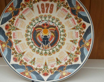 WEDGWOOD Sacred Scarab collectors calendar plate 1979/ships worldwide from UK