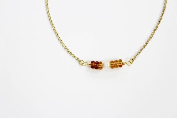 Delicate Amber Glass & Pearl Choker