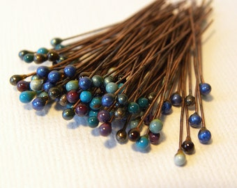 Blue cold enameled copper head pins