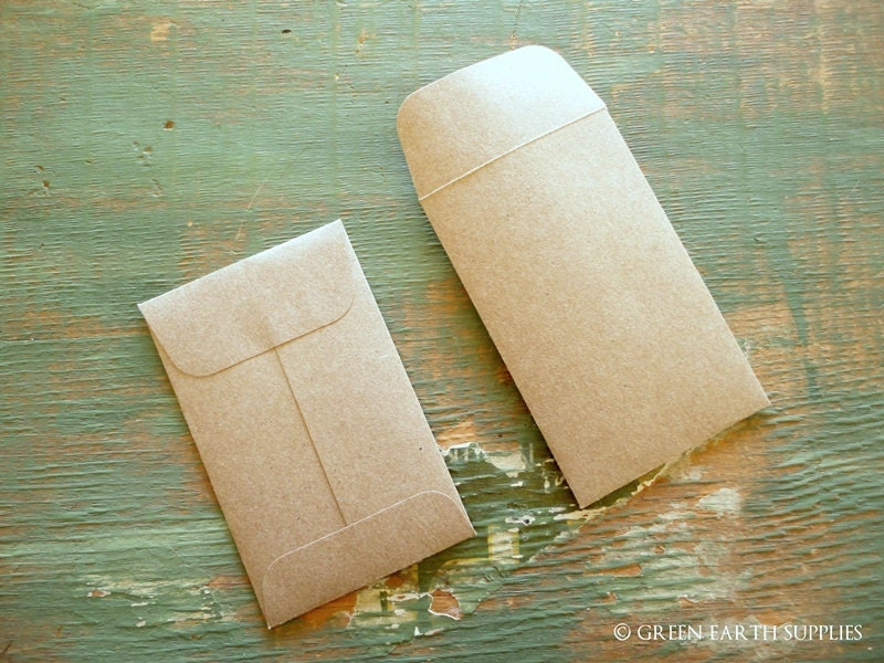 50 Mini Seed Packet Envelopes Kraft Brown Business Card