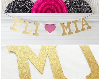 Custom Name Banner - Glitter 5 inch Letters - Bridal Shower Decorations Engagement Photo Prop Personalized Wedding Banner Bride Groom Banner