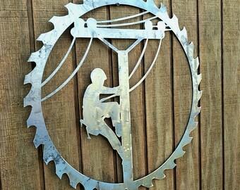 Lineman Decor- Metal Door Hanger- Unfinished Sign- Rustic Sawblade- Metal Decor- Barn Decor- Gift Idea- Lineman Wall Decor- Wall Hangings