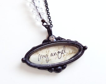 Isabel - my angel necklace - asymmetrical necklace - angel charm necklace - Valentine's Jewelry