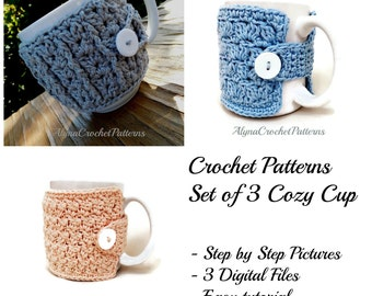 Cozy Mug Crochet Pattern- Coffee Mug Cozy  Crochet Pattern - Tea Cup Cozy - Instant Download - Set of 3 Crochet Cozy Cup Patterns