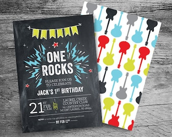 One Rocks First Birthday 5x7 Invitation and 6x4 Thank You - First Birthday - 5x7 - Personalized Invitation - Printable File
