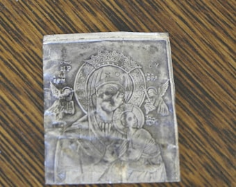 antique sterling silver icon mary the mother and jesus and angels