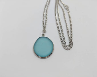 Seaglass necklace, turquoise necklace, turquoise pendant, seaglass pendant, silver necklace, silver chain, silver pendant, seaglass chain