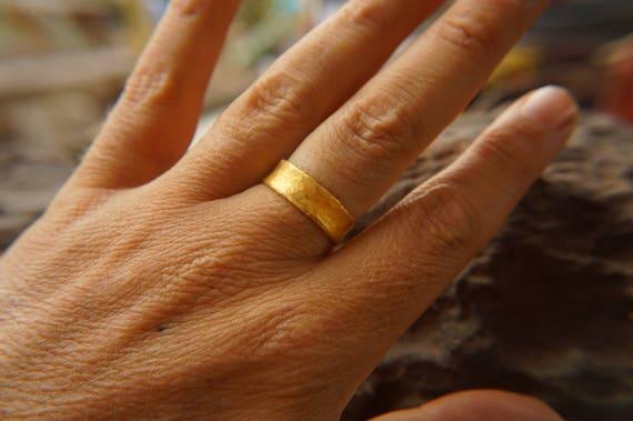 24k wedding band24k yellow goldartisan hammered