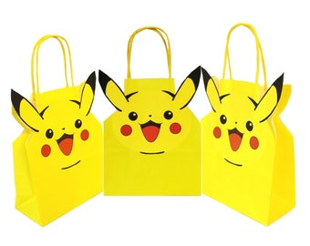 Personalised Pokemon Party Gift Bags for Birthdays and other occasions Packs of 5, 10, 15, 20, 25, 30, 35, 40