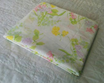 Vintage Full Size Flat Sheet - Pink Flowers, Purple Flowers, Yellow Flowers on White Background - Kitsch Bedroom