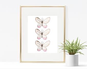Lavender Butterfly Printable - Instant Download, Wall Decor Printable, Spring Printable, Girly Printable, Work Space Art, Nursery Print