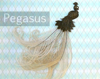 Ivory Victorian Bronze Peacock with Peacock feather plume tail (1 Piece)(7 inches long) for fascinators, hats, wedding decoration, wreaths