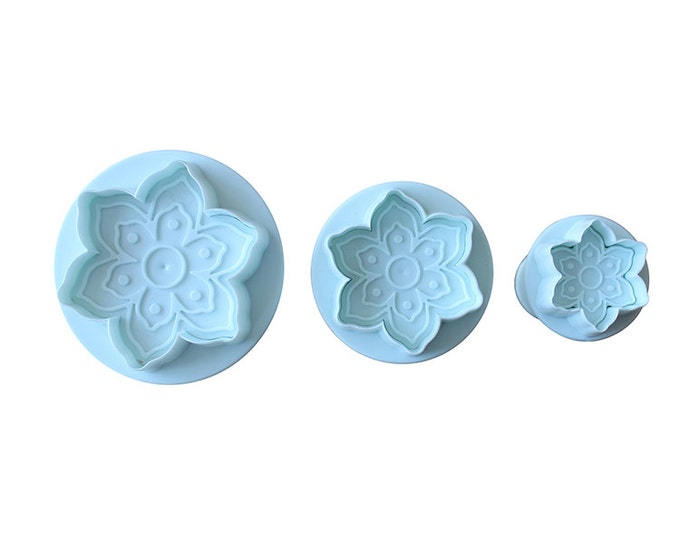 Poinsettia 3 pc Flower Cutter Plunger Mold Set - Gumpaste Candy Fondant Cookie