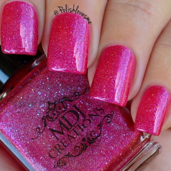 Hot Pink Holographic Nail Polish- HireAbility