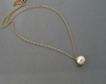 Single Pearl Necklace,  pearl pendant necklace, white pearl, gold filled, delicate everyday, bridesmaid gift wedding jewelry by balance9