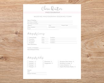 Client Booking Form -Wedding Photography Booking Form Template, Instant Download, Photography Forms, Photoshop Template for Photographers
