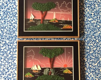 A Pair of Vintage Framed Seascape Collages