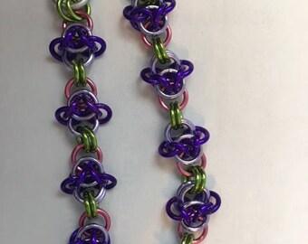 Purple Orchid Chain Maille Bracelet