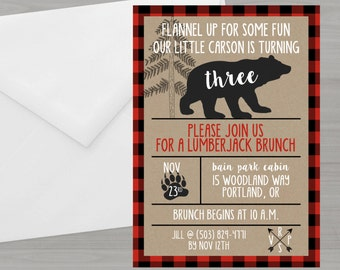 Bear Birthday Invitation//Lumberjack Bear Birthday Theme//Lumberjack Red Buffalo Plaid Printable Birthday Invitation//Rustic//Woodland Plaid