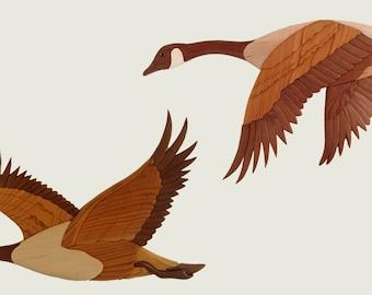 Canada Geese wood intarsia