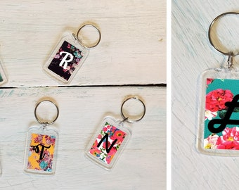 Monogram Acrylic Key Chain, Floral Pattern, Gift for Mom, Mother's Day, Teacher Appreciation, Personalized Key Chain