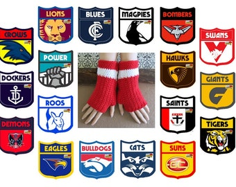 Adults AFL Fingerless Gloves All Teamss Crochet Wool Wrist Warmers in Red And White, Australia, AFL Sydney Swans