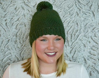 Crochet Hat with Pom, Green, Charity Donation