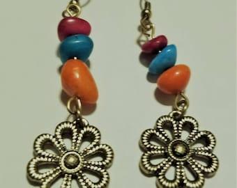 Flower Earrings, Colorful Earrings, Stacked Earrings, Red, Blue and Orange Earrings, Floral Earrings, Handmade Earrings, Gift for Her