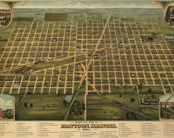 Bird's Eye View Map of Mattoon, Illinois (1884) Panoramic Gallery Wrapped Canvas Wall Art Print (D40)