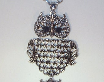 Antique Silver Owl Necklace