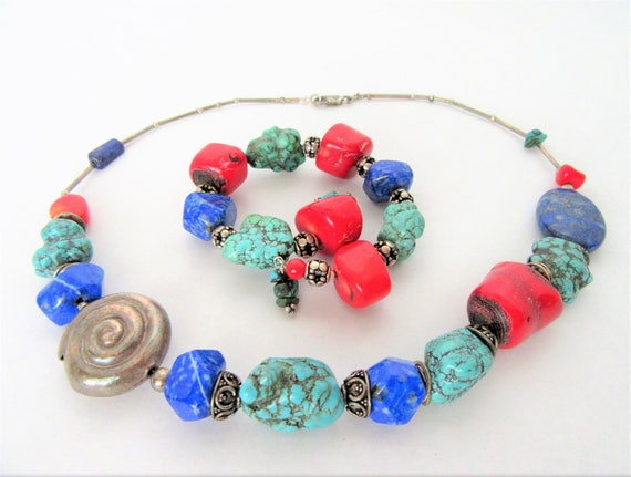 Howlite Necklace Bracelet, Red Turquoise Beads,  Boho Style, Liquid Silver