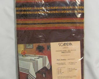 Vintage Scandia Brown Orange Woven Square Tablecloth Prints Charming New Old Stock