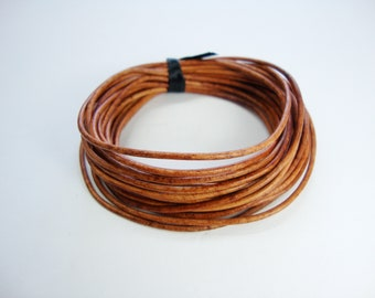 Round Leather Cord, Natural Light Brown Leather Cord,  1.5mm Round Cord, Genuine Leather Cord, Bracelet Necklace Leather