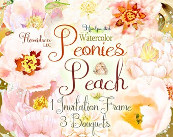 Peonies clip art, peony flower clipart, peach flower clipart, bouquet, floral frame, boho, bouquet, invitation, peach peony, floral, wedding
