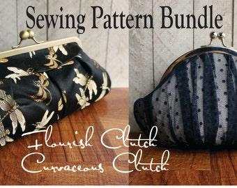 Toriska frame sewing pattern Bundle, Curvaceous round frame clutch, Flourish framed pleated clutch, PDF pattern, downloadable file, digital