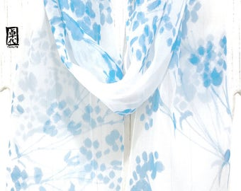 Silk scarves for women, Floral Silk Scarf, Hand painted Silk Scarf, Chiffon Scarf, Light Blue Spring Wildflowers, Takuyo, Made to order
