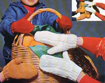 childrens mittens knitting pattern 4-12 Years chunky / bulky childrens gloves knitting pattern PDF Instant Download
