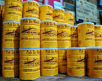 Coffee Cans Stacked in Yellow Photography,  Coffee in Cute Store in New Orleans art, Coffee in Bright Yellow stacked Cans picture wall art