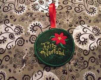 Feliz Navidad Ornament Feliz Navidad Spanish Merry Christmas Ornament Feliz Navidad ornamento tree ornament holiday ornament