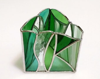 Stained Glass Pencil Holder, Candle Holder, Green Glass, Abstract Art, Desk Accessory, Office Gift, Modern Decor, Irish Gift, Geometric Art