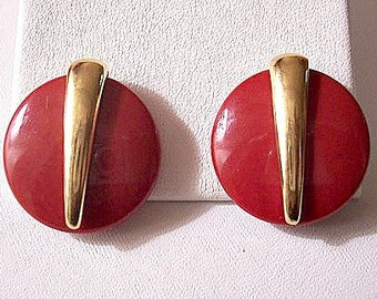 Trifari Red Lucite Button Clip On Earrings Gold Tone Vintage Center Band Accent Large Round Smooth