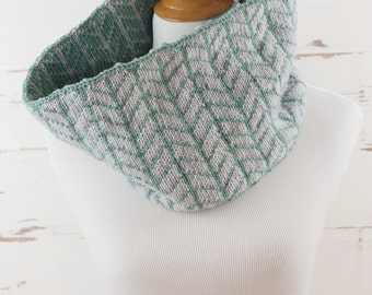 graphic chevron cowl // hand-knit neckwarmer // robin's egg and tidepool colors