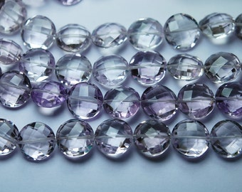 4 Inch Strand,Finest Quality,Natural Pink Amethyst Faceted Coins Shape,12mm Long,Great Quality