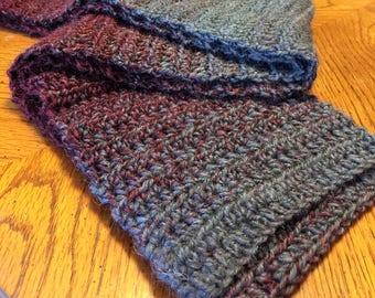 Handmade Crochet Oxford/Claret Ombré Soft Lofty Fashion Scarf