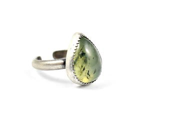 Prehnite Ring, Adjustable Ring, Teardrop Ring, Boho Ring, Bohemian Jewelry, Gift for Her, Bohochic, Spring Jewelry, Green Stone Ring
