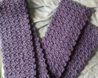 Lavender. Waffle Stitch Scarf
