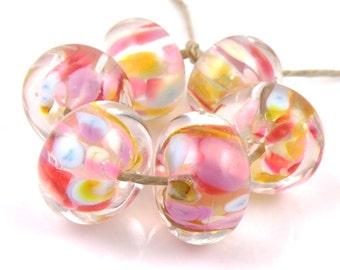 Sweet Dreams Encased SRA Lampwork Handmade Artisan Glass Donut/Round Beads Made to Order Set of 6 10x15mm