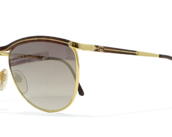 Gucci 2220 98H Gold Vintage Sunglasses CatEye For Men