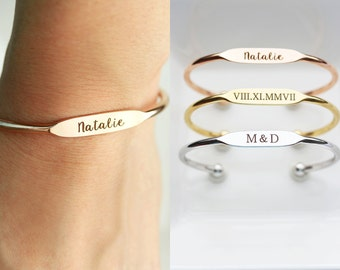Personalized Bridesmaid Gift, Engraved Bracelet - Personalized Gift for Her, Personalized Bracelet, Engraved Gift Personalized Cuff Bracelet